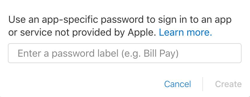 name app password icloud