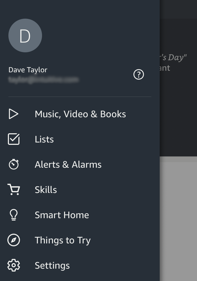amazon alexa app - main menu