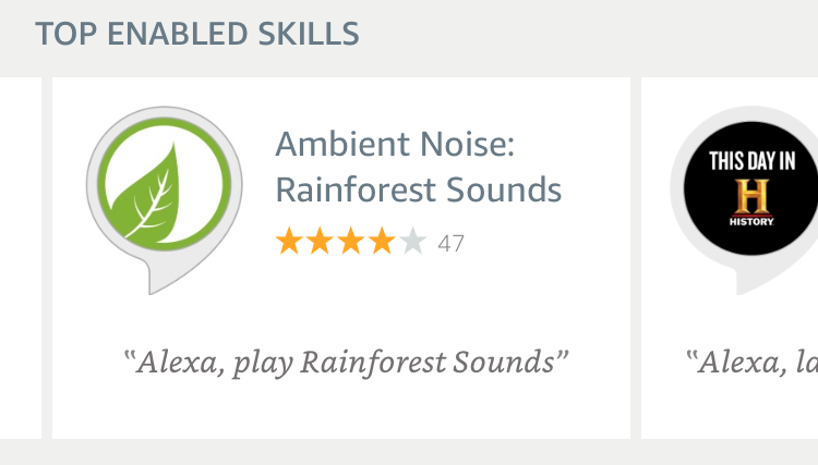 ambient noise rainforest sounds - amazon alexa echo