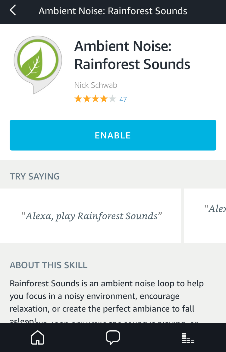 ambient noise rainforest sounds amazon echo alexa skill