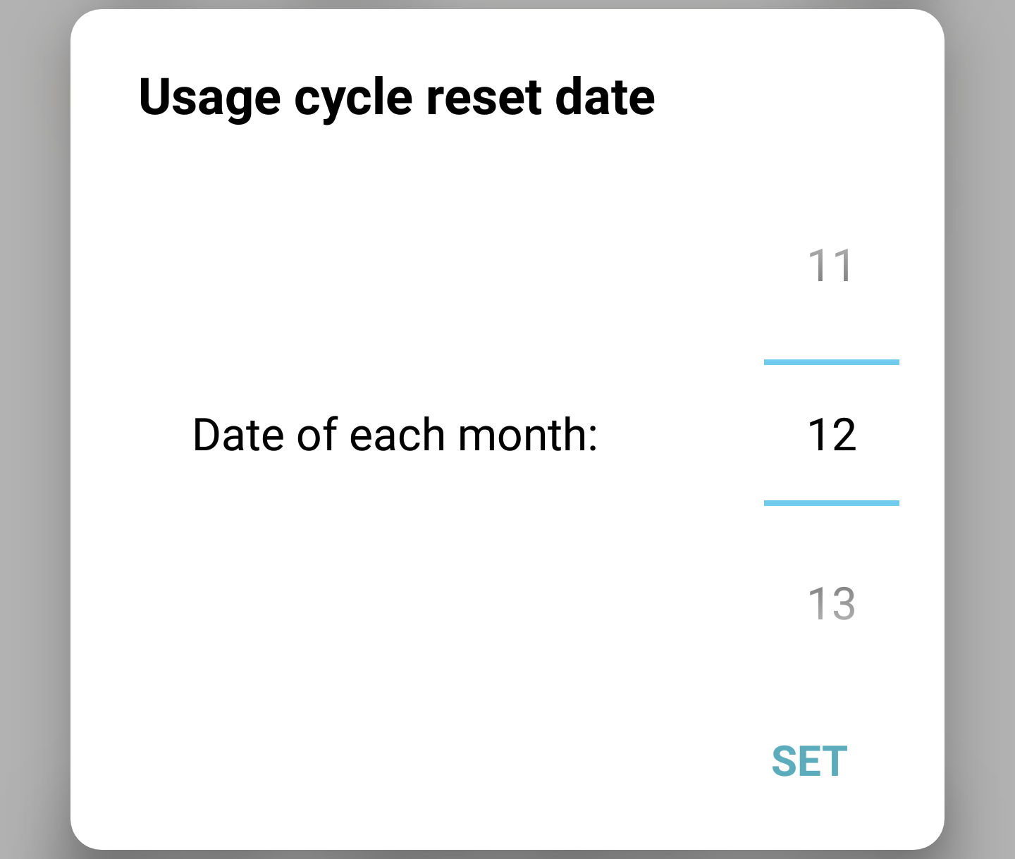 adjust cell billing cycle android