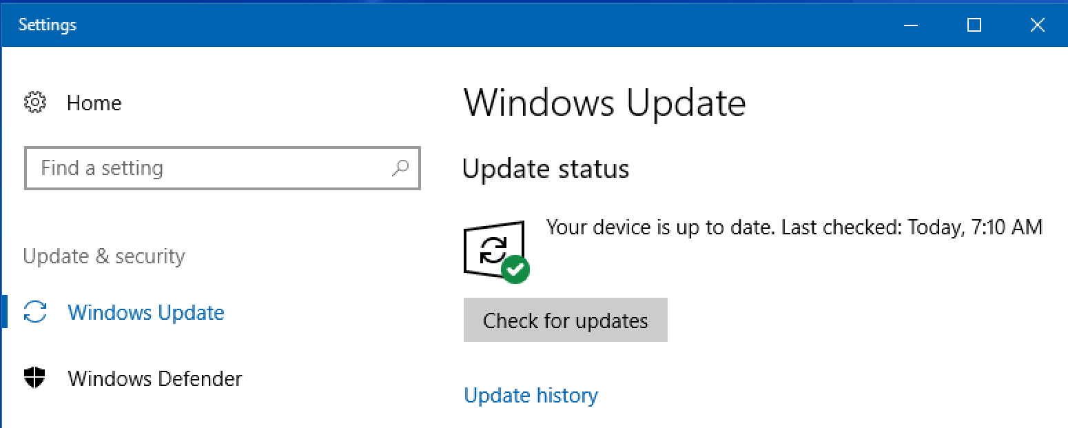 check for windows 10 win10 system update