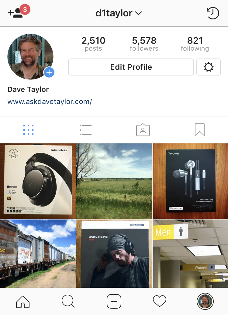 instagram profile screen page