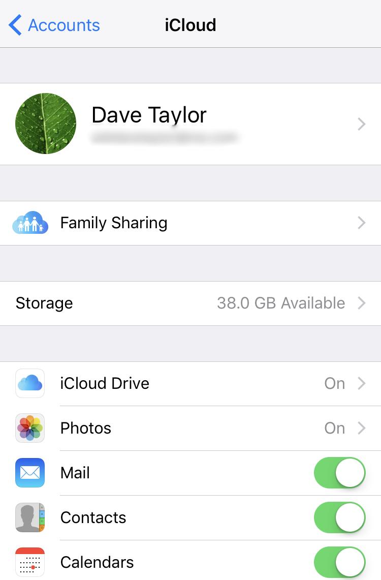 iCloud settings, ios iphone