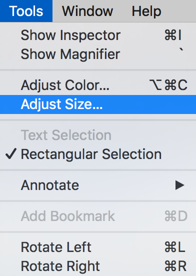 preview > tools > Adjust size