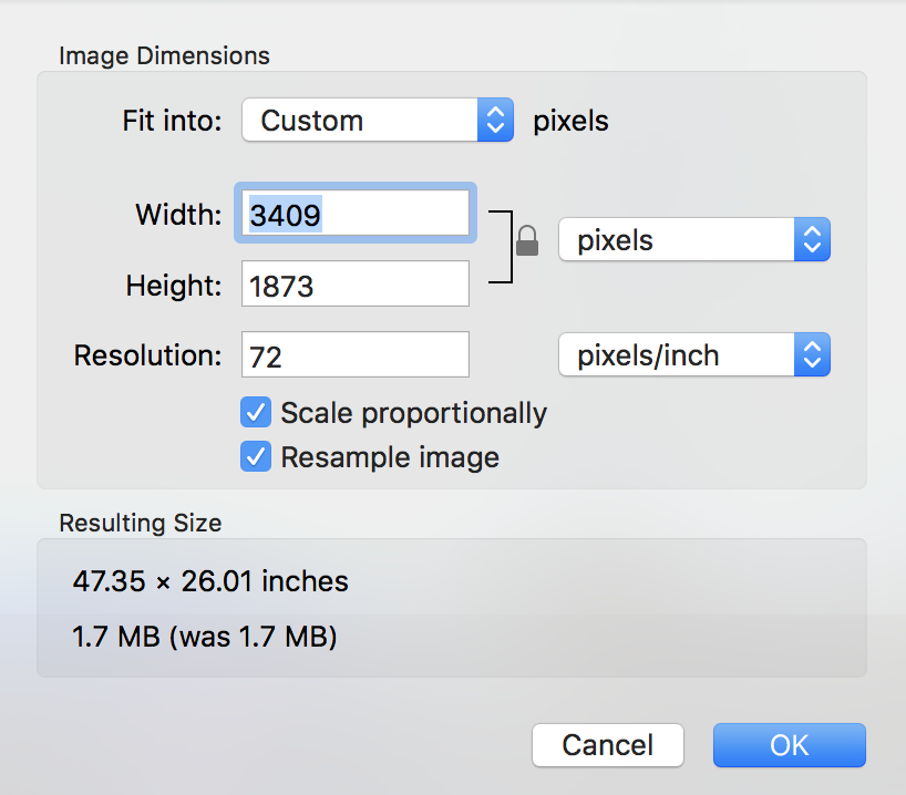 preview > tools > adjust size image window