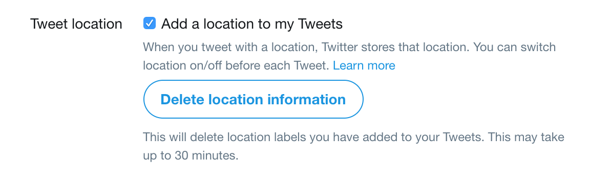 twitter location privacy settings preferences