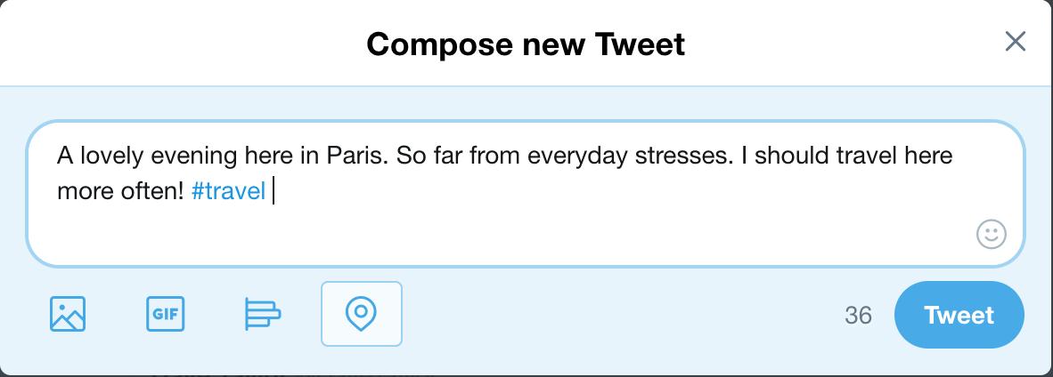 fake tweet - having fun in paris, france