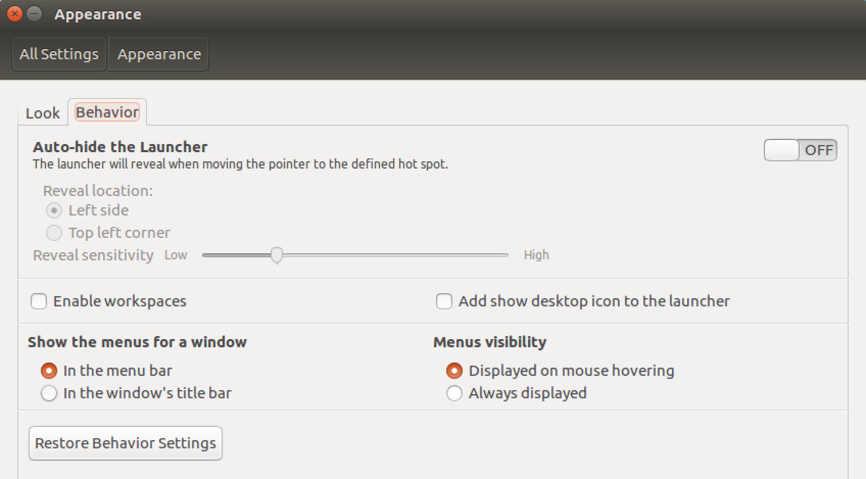 ubutu linux appearance settings preferences