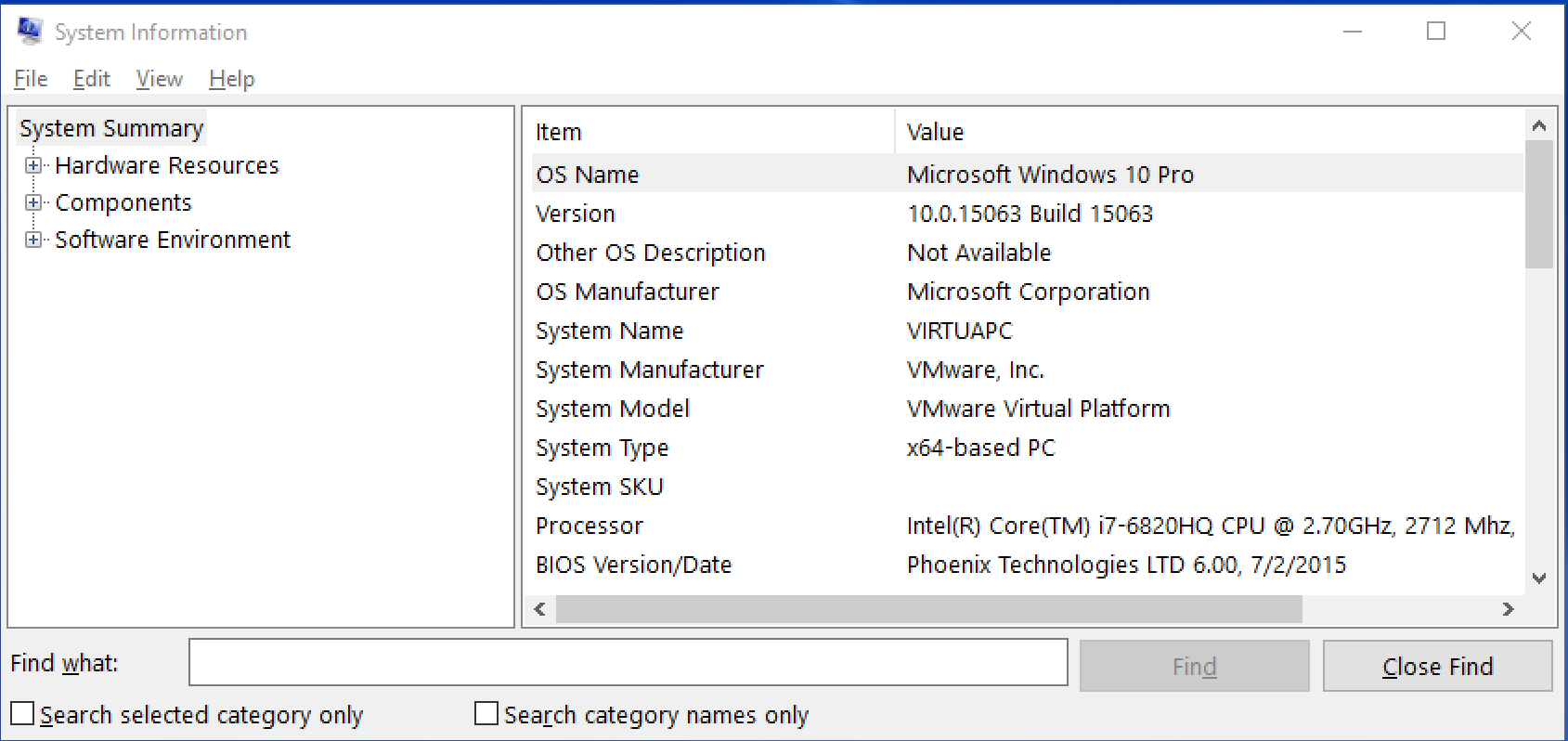windows 10 win10 system information os version