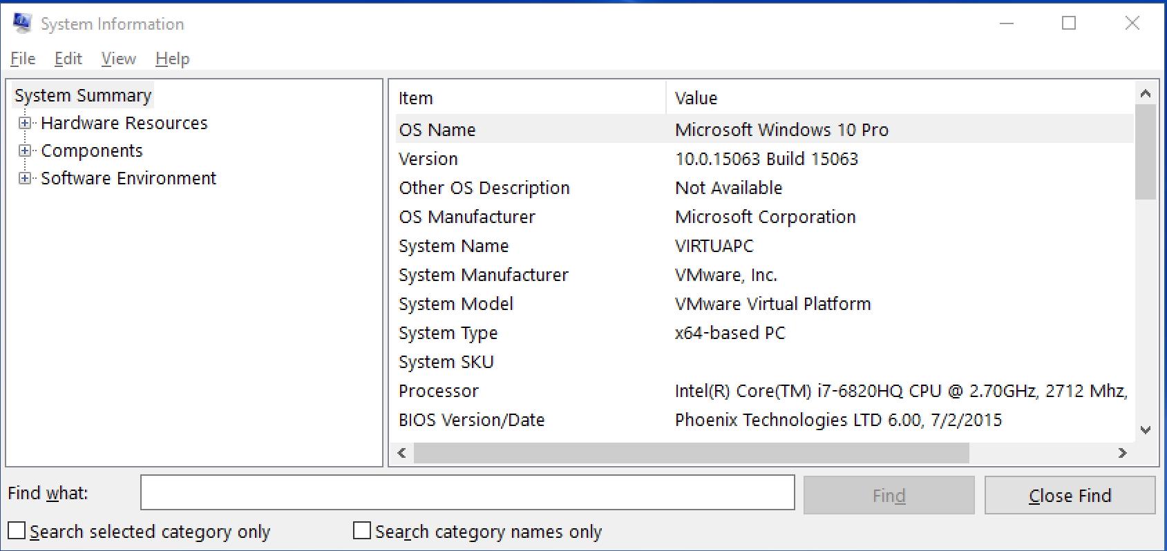 windows 10 win10 system information os version