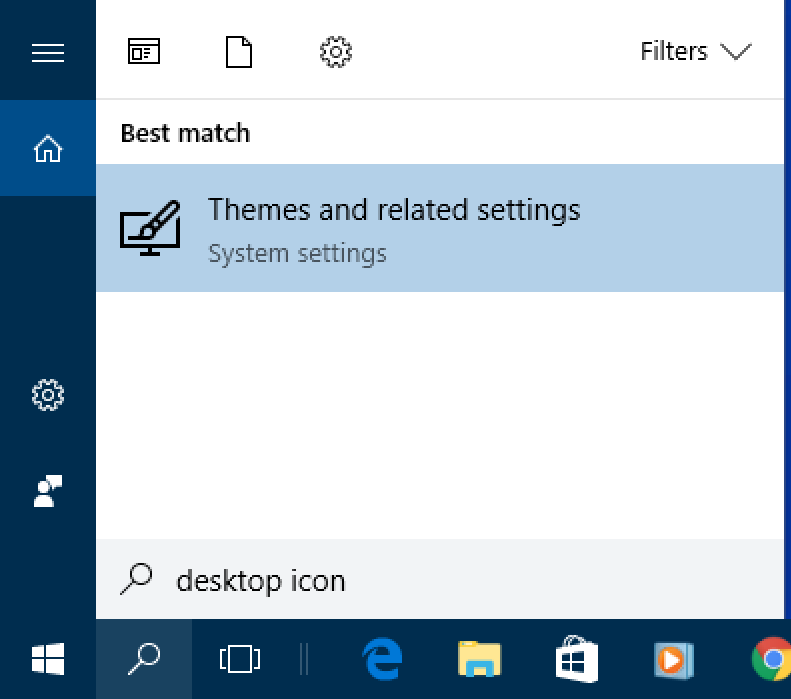 windows 10 win10 cortana search 'desktop icon'