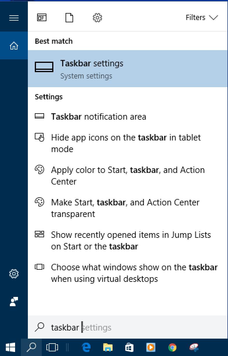 win10 cortana search for 'taskbar'