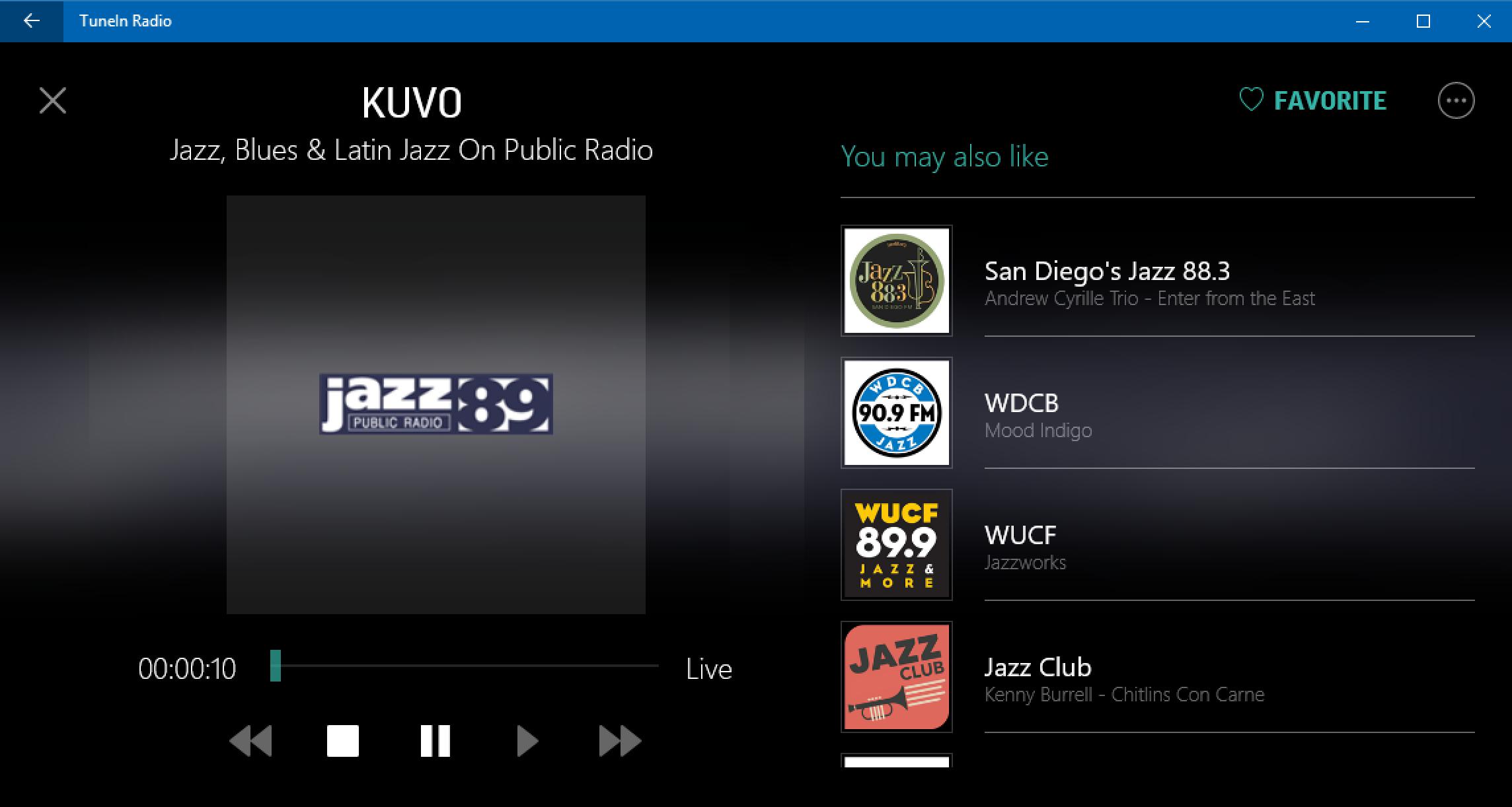 listening to kuvo jazz in tunein