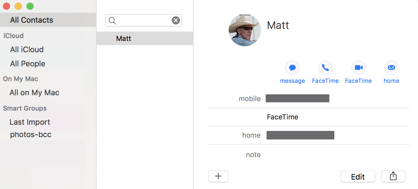 entry in apple contacts address book macos x