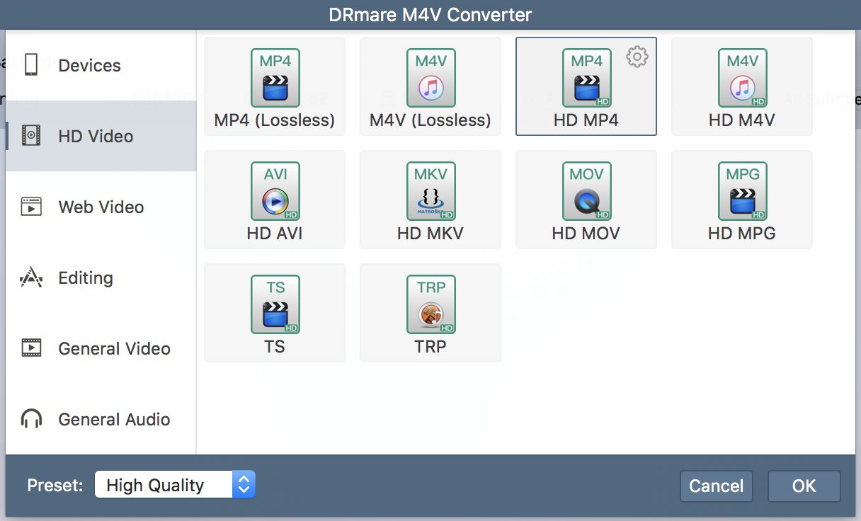 drmare m4v converter format output options
