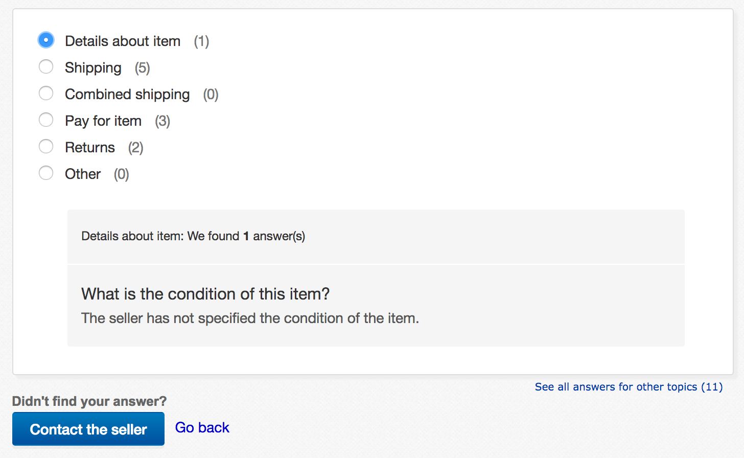 ebay ask a question categories