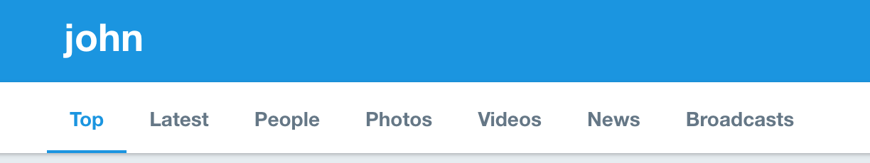 twitter search result categories