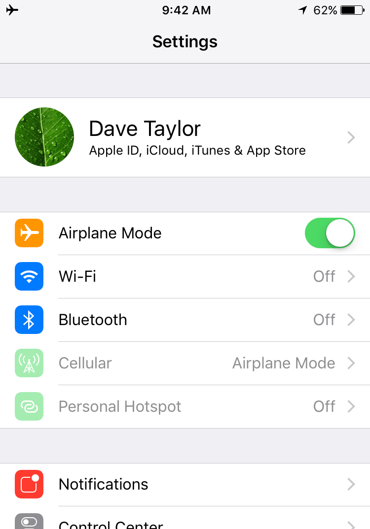What Is Airplane Mode On My Iphone Ask Dave Taylor