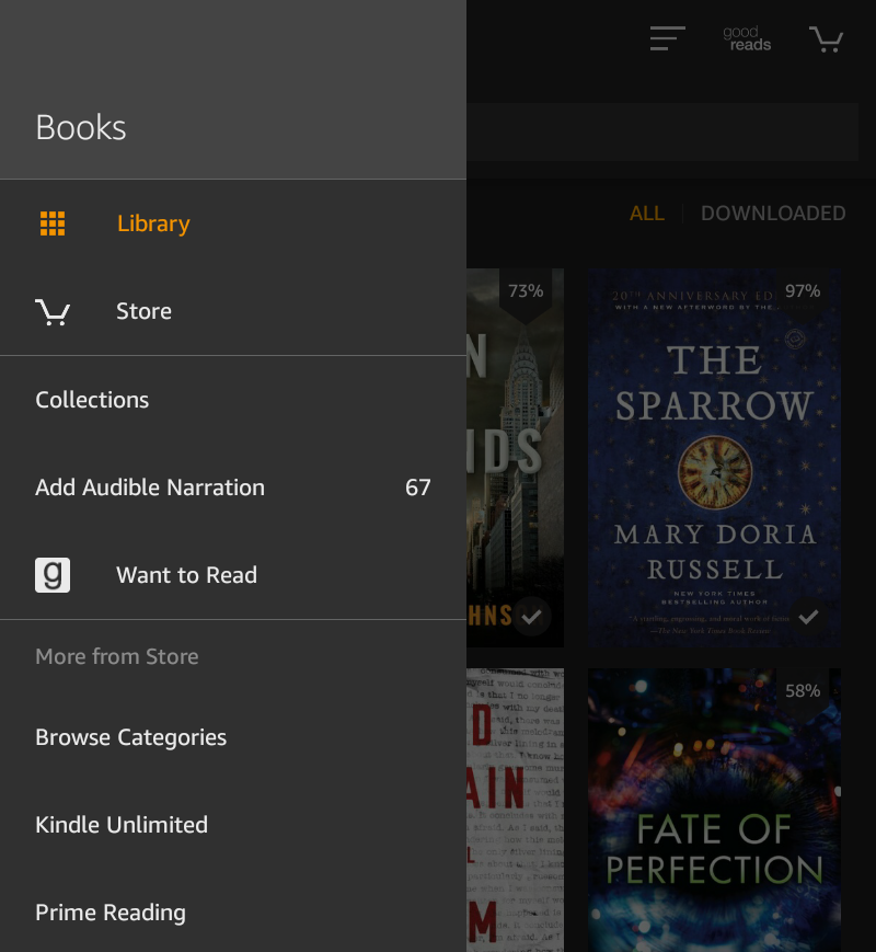 kindle fire app menu