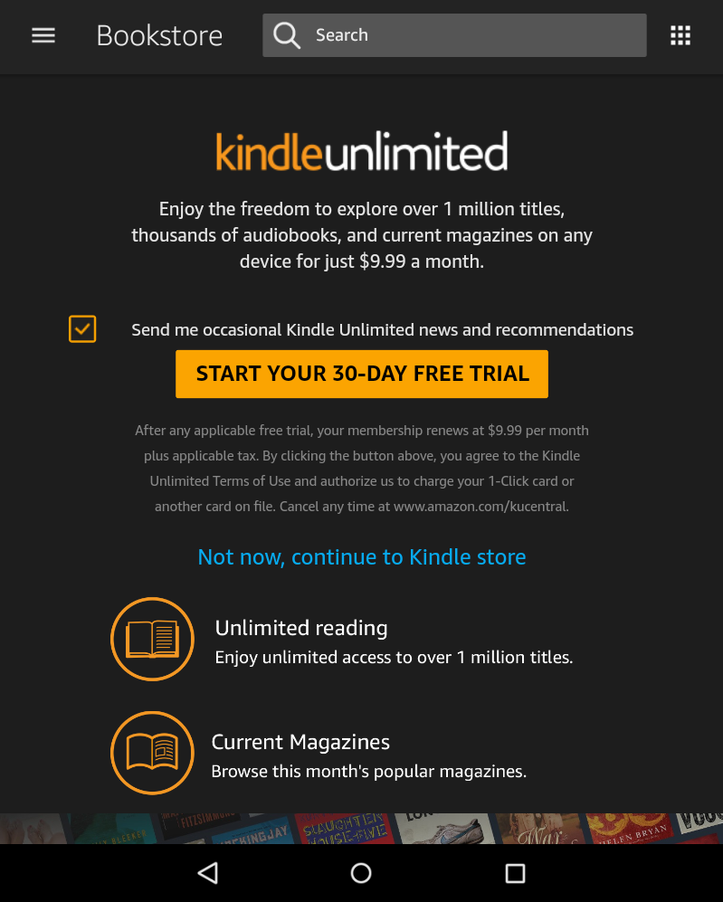 kindle unlimited advert