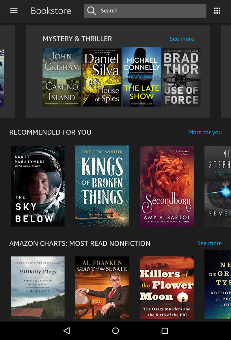 kindle book store, main screen