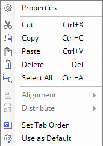 context menu, pdf form field