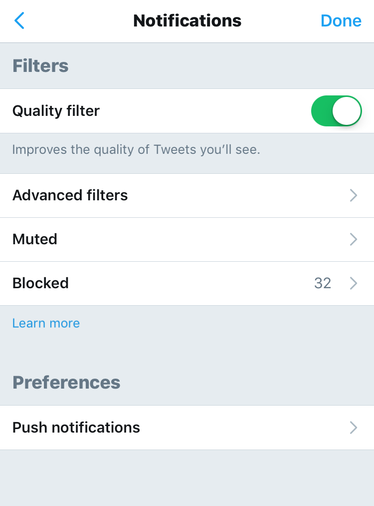 twitter filter mute options settings