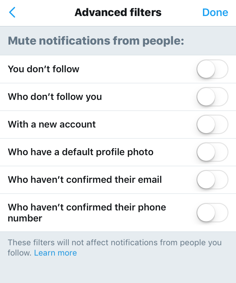 advanced twitter mute filters spam scam haters