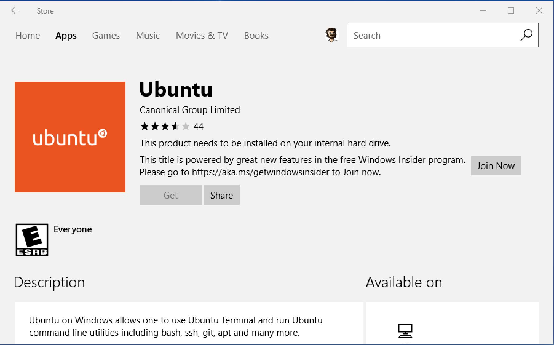 ubuntu linux win10 app store