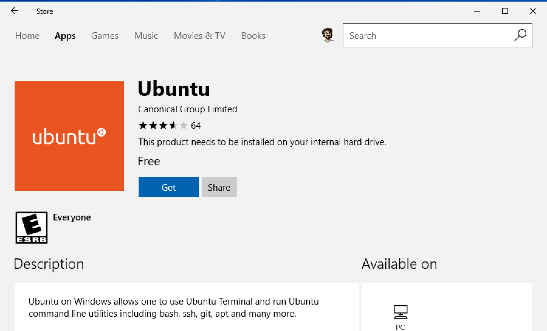 ubuntu win10 app