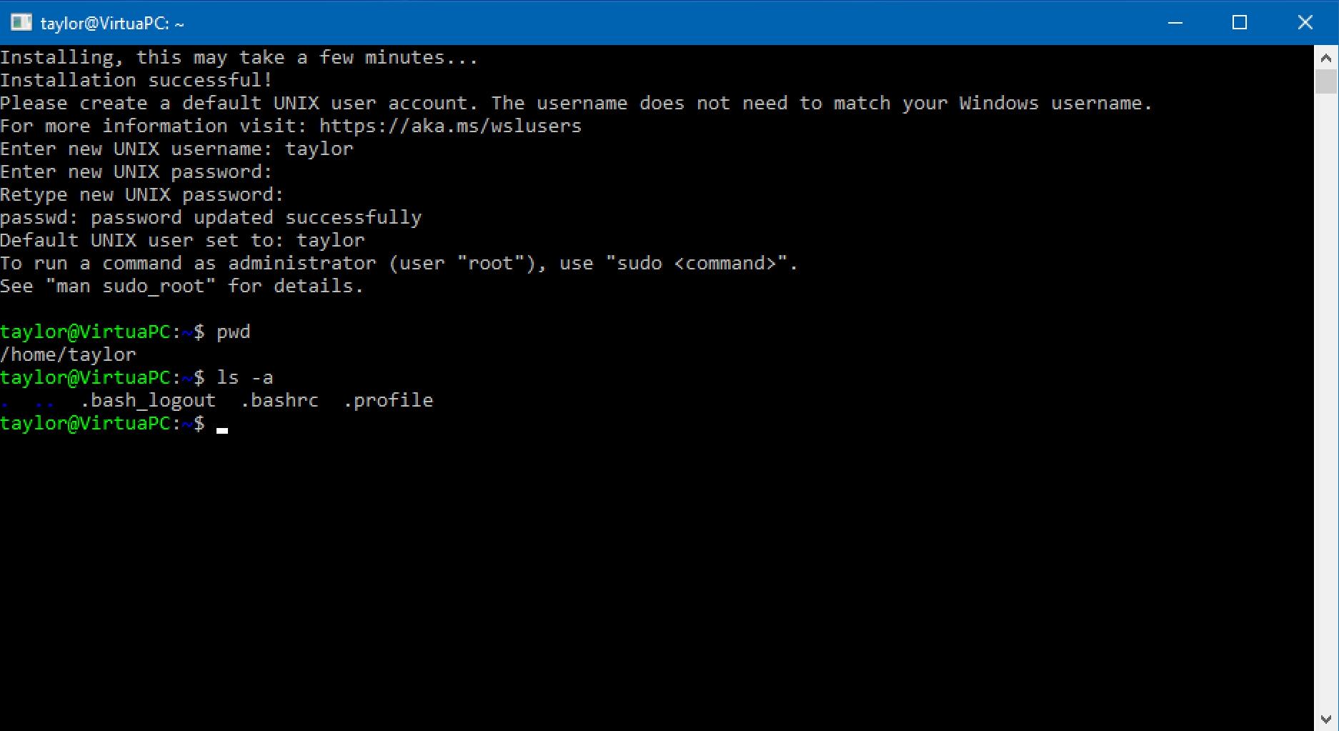 linux ubuntu setup done win10 windows