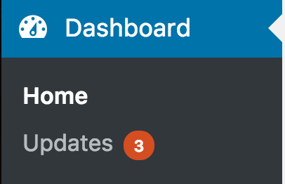 wordpress showing 3 updates