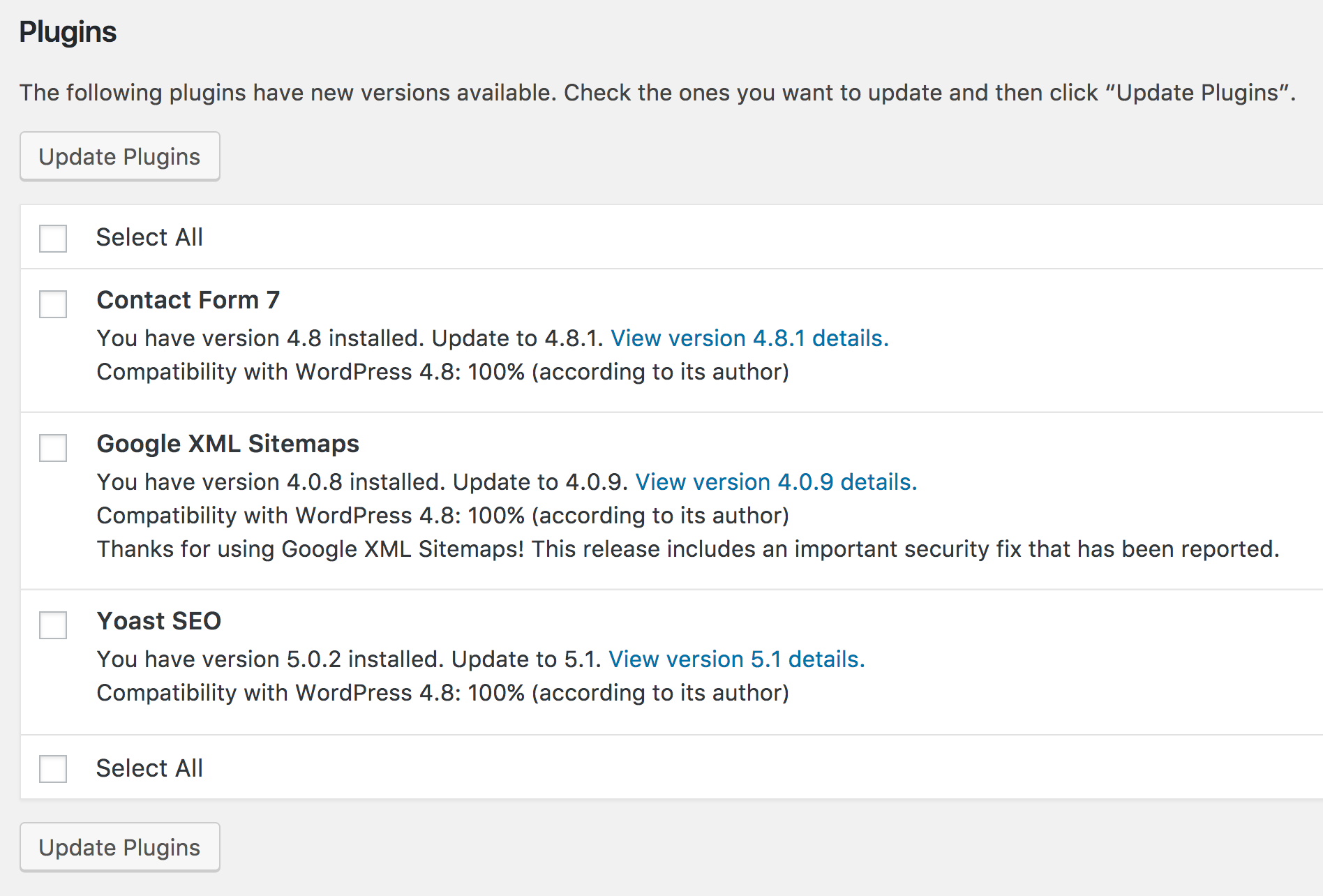 available wordpress wp plugin updates