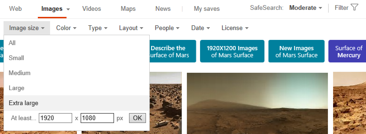 Filter Image Search Results Bing Image Search