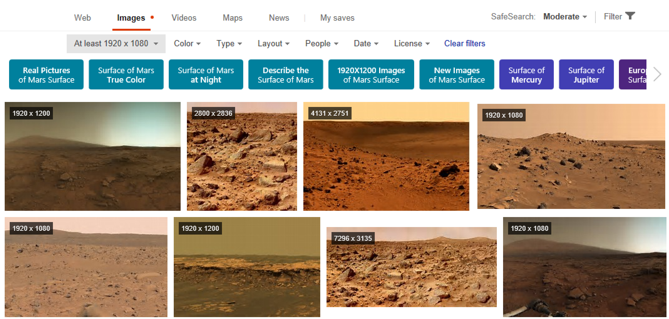 surface of mars bing image search with dimensions shown
