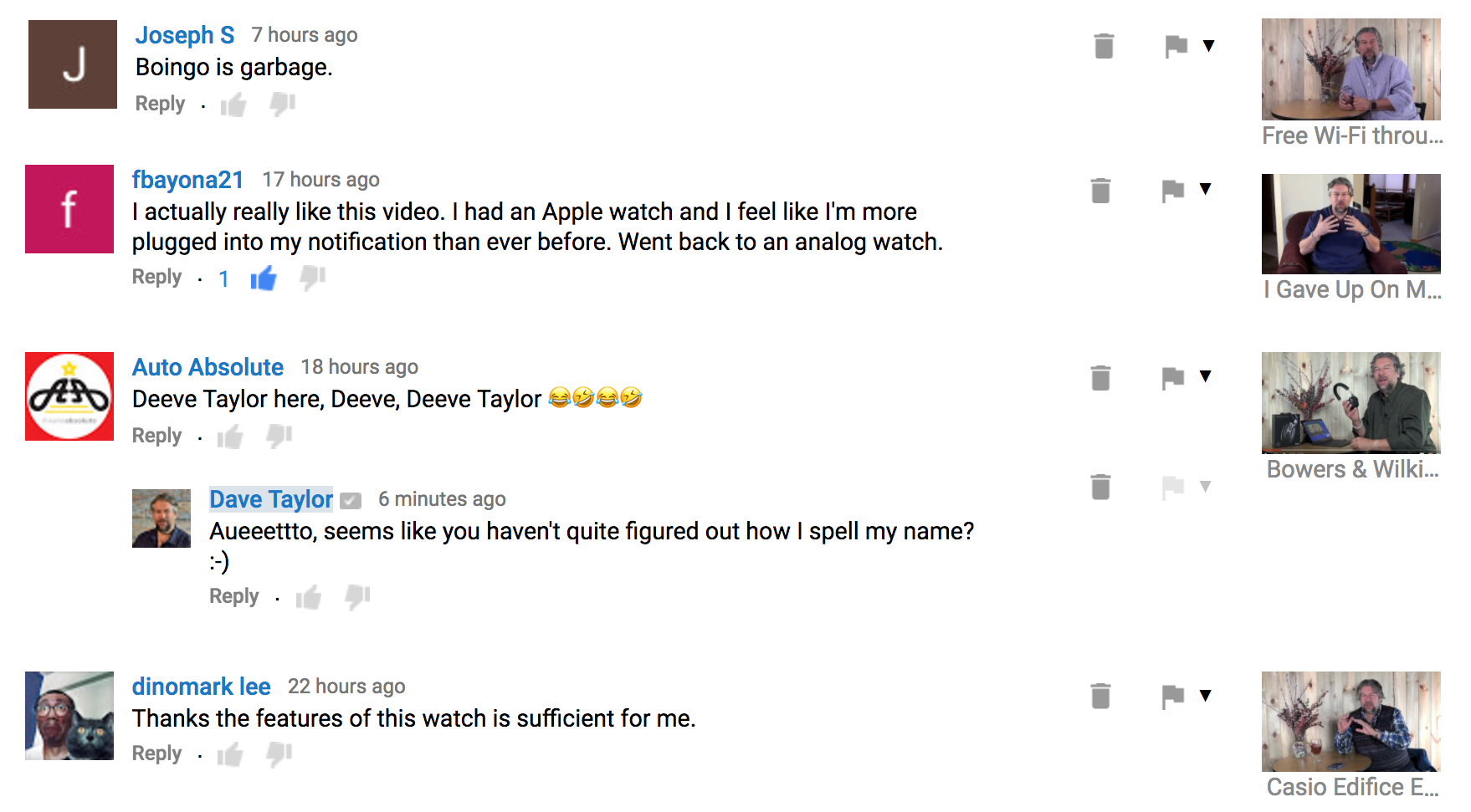 youtube channel comments