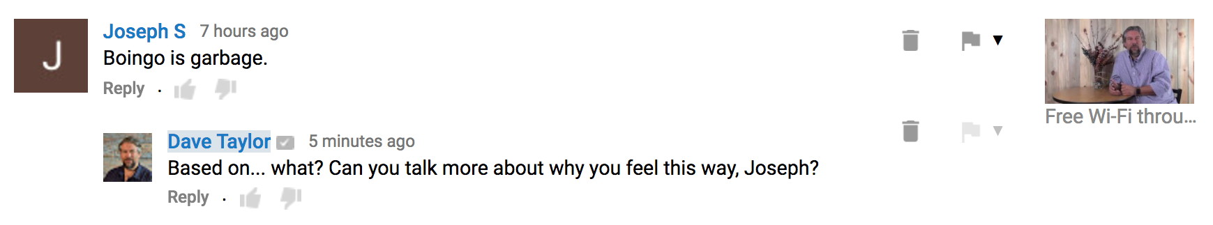 youtube video comment with response reply
