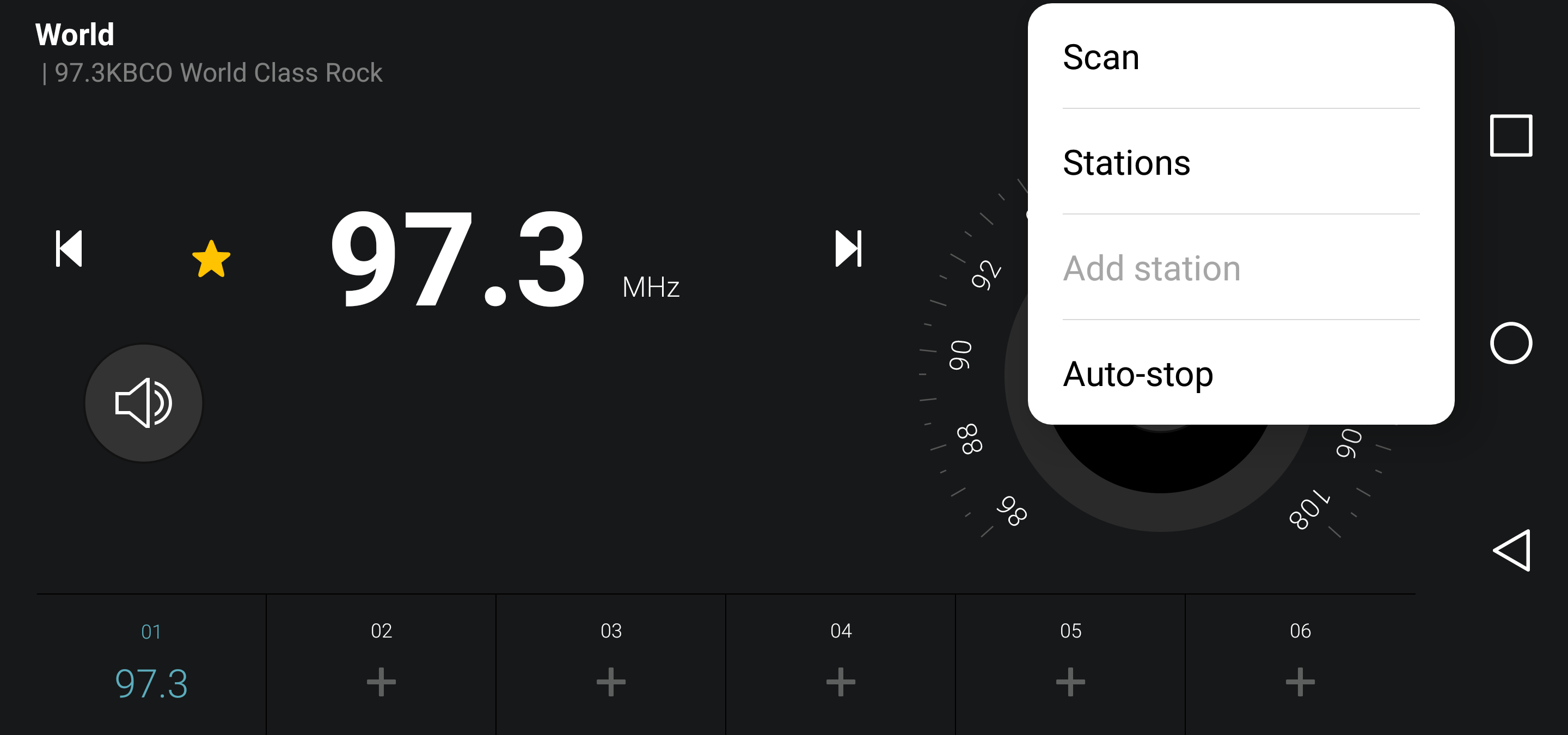 settings, station scan, fm radio android