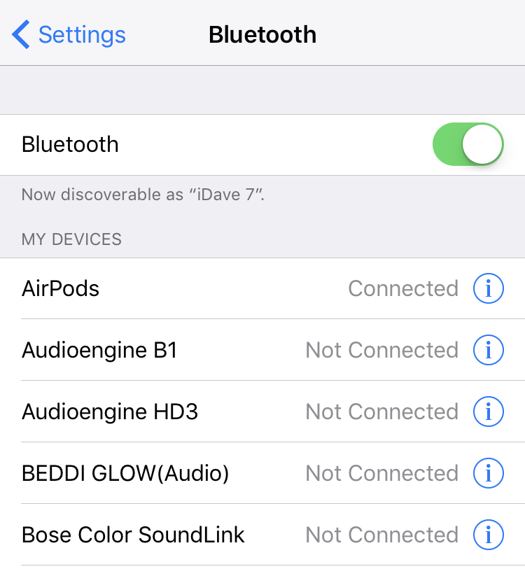 ios 10 bluetooth settings