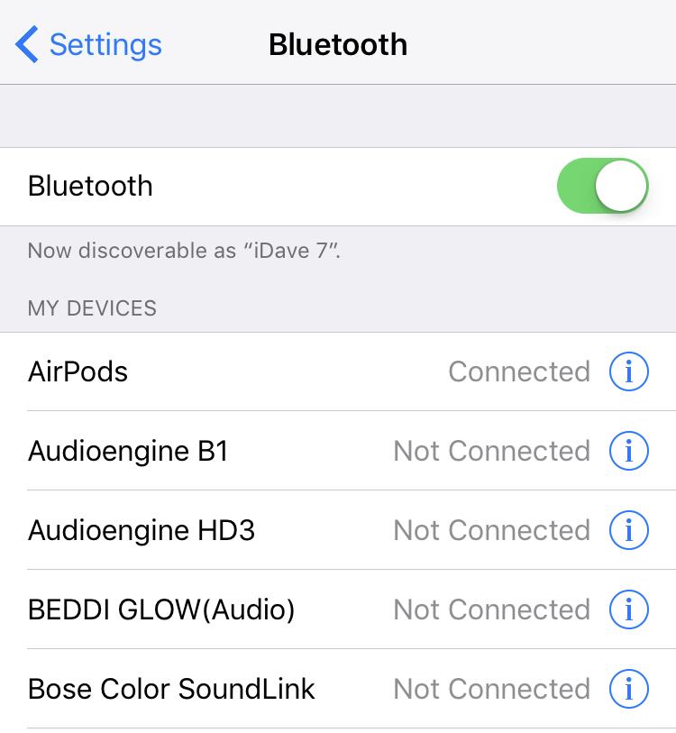 ios 10 bluetooth settings