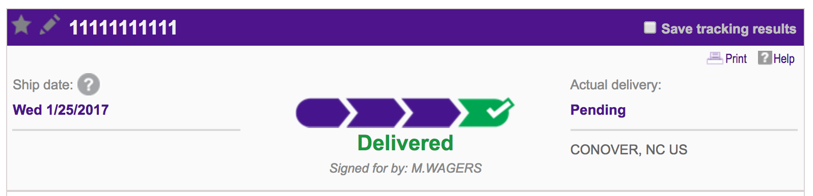 fedex tracking number - delivery info