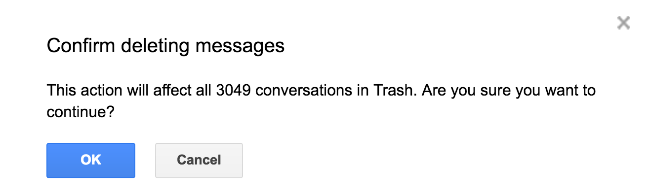 are you sure empty trash delete email messages gmail