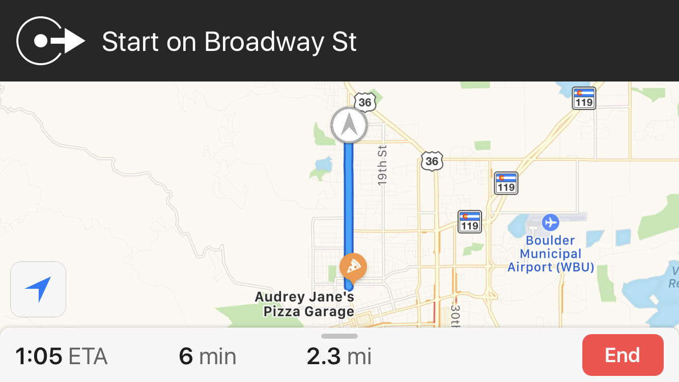 directions to local pizza, apple maps, iphone