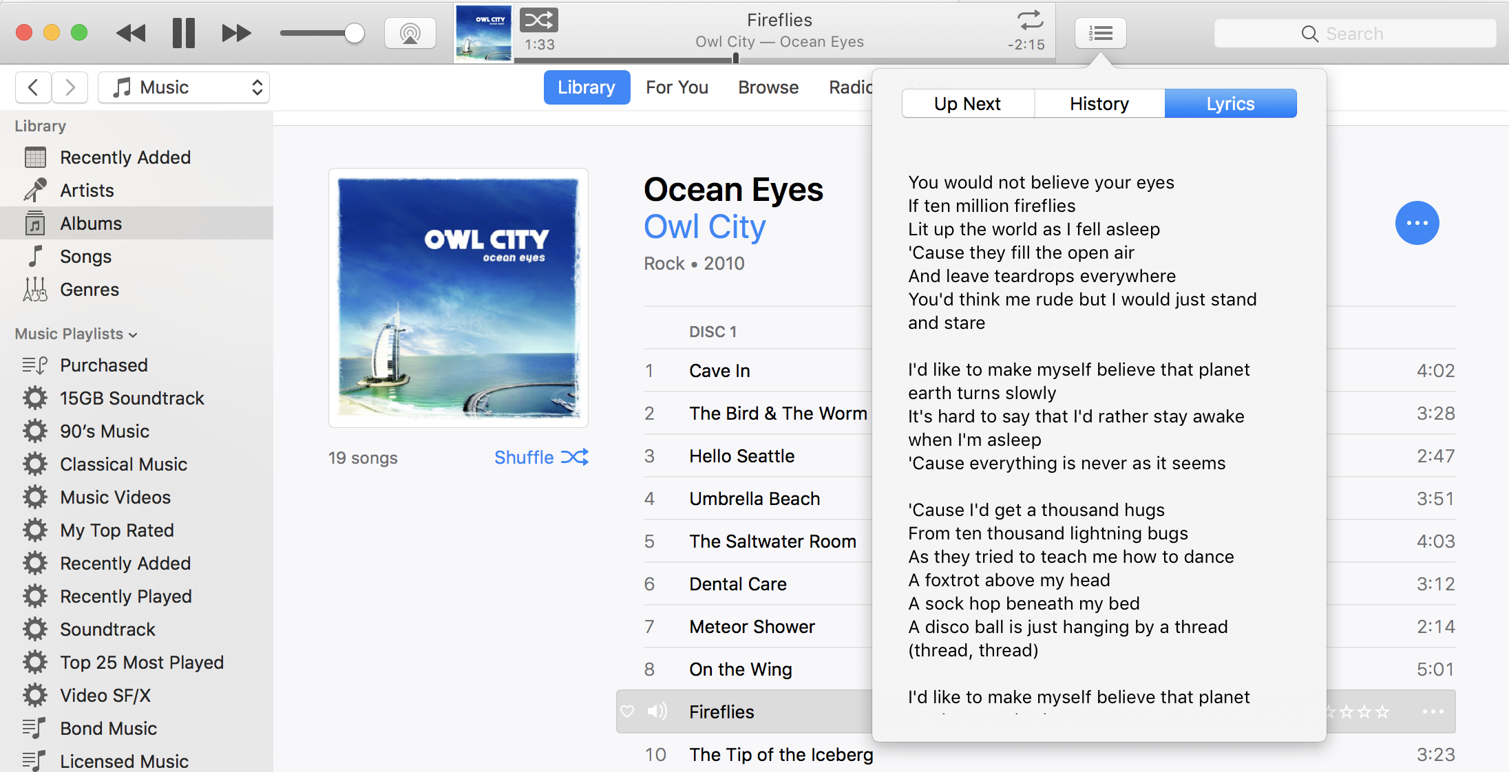 itunes song with lyrics shown owl city fireflies