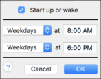 schedule mac macos x wake up boot sleep power down
