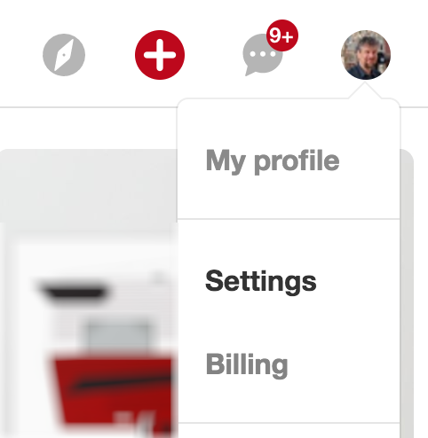 pinterest menu > settings