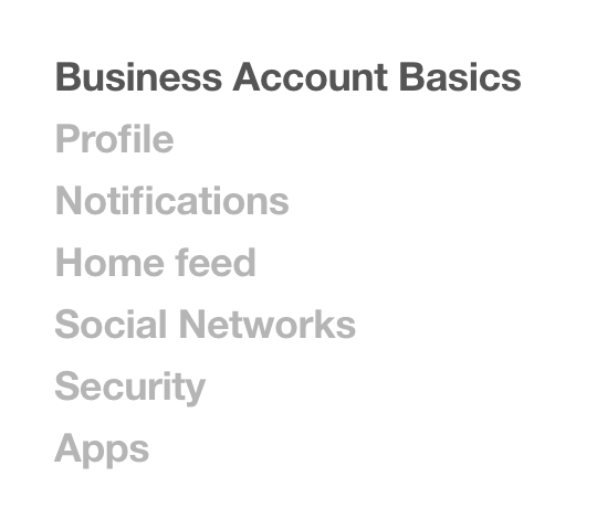 pinterest settings > business account basics