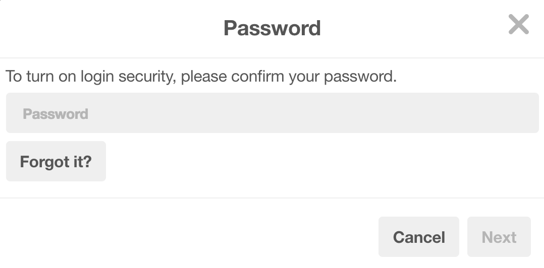 pinterest 2-step authentication enter password