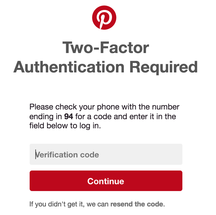 pinterest log in two-factor authentication safety security
